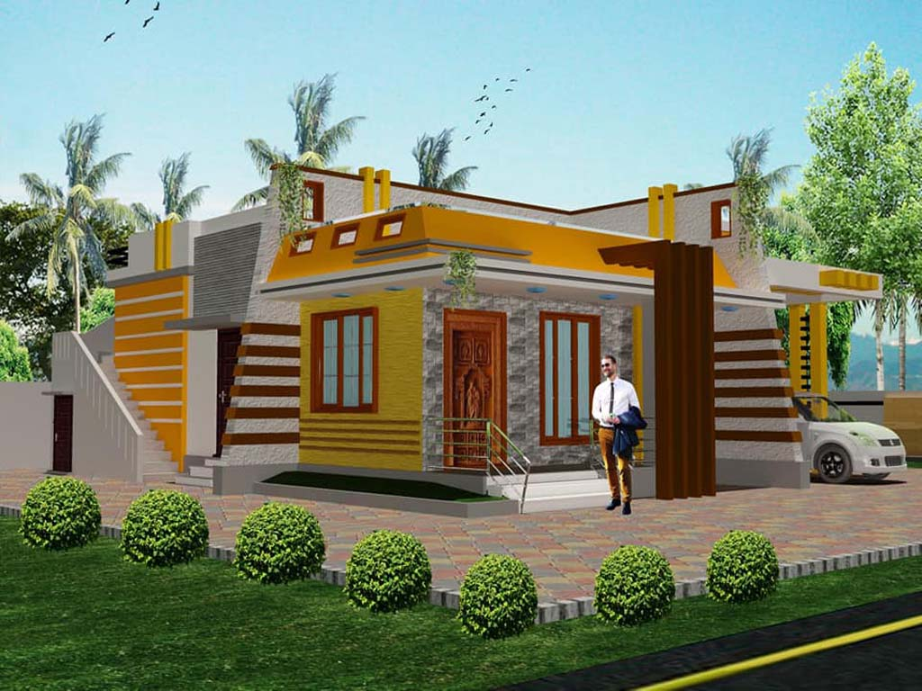 3 bhk single story home elevation