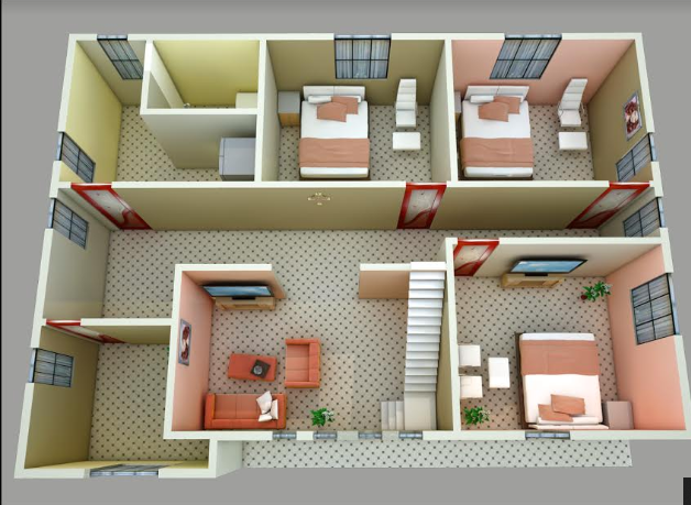 Contemporary 3d house floor plans