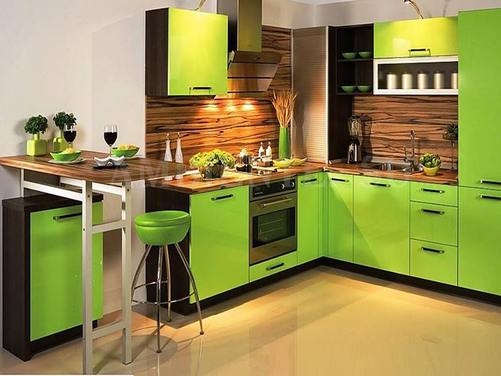 green colour kitchen interior design ideas