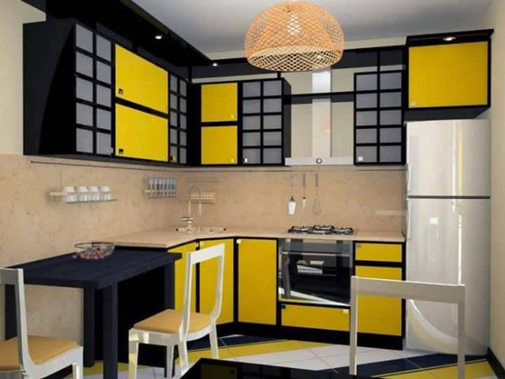 modern yellow kitchen interior design ideas