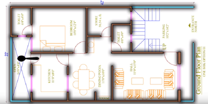 Best House Plan for 22 feet by 42 feet plot as per Vastu