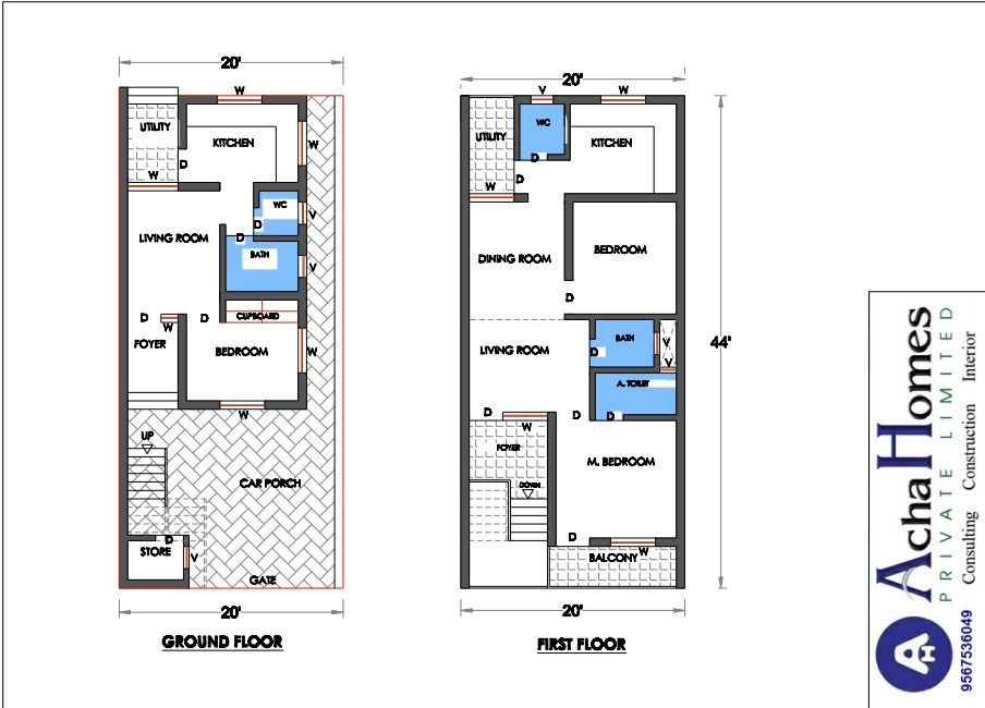 20 feet by 44 feet West facing double-edged Duplex house for two families