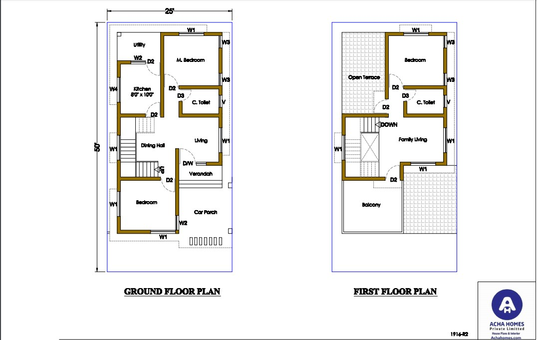 A 25 by 50 feet Plot for Two Family in a Semi-Detached House