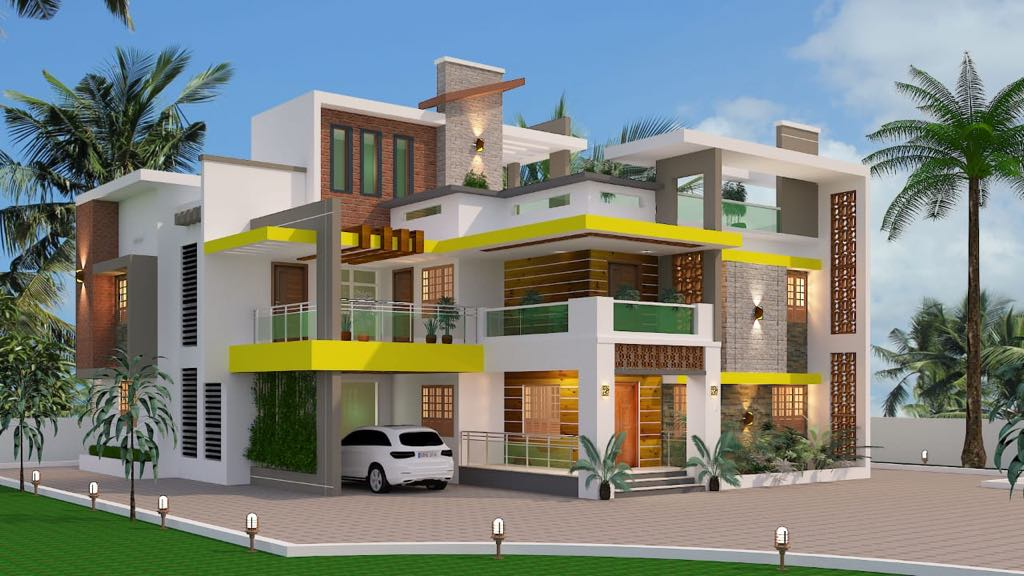 Modern style home design and plan for 3000 square feet duplex house