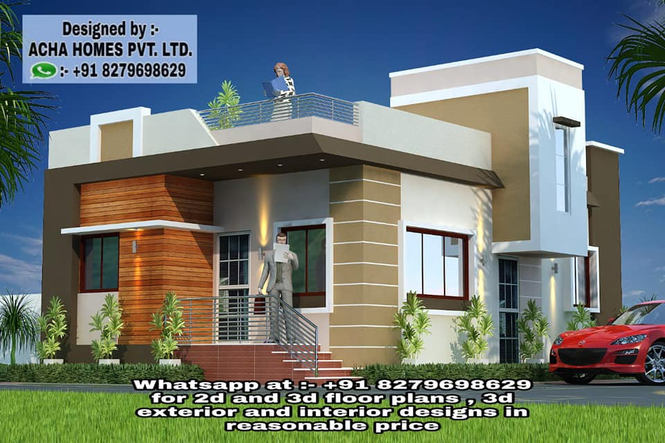 2 bhk single floor home front design