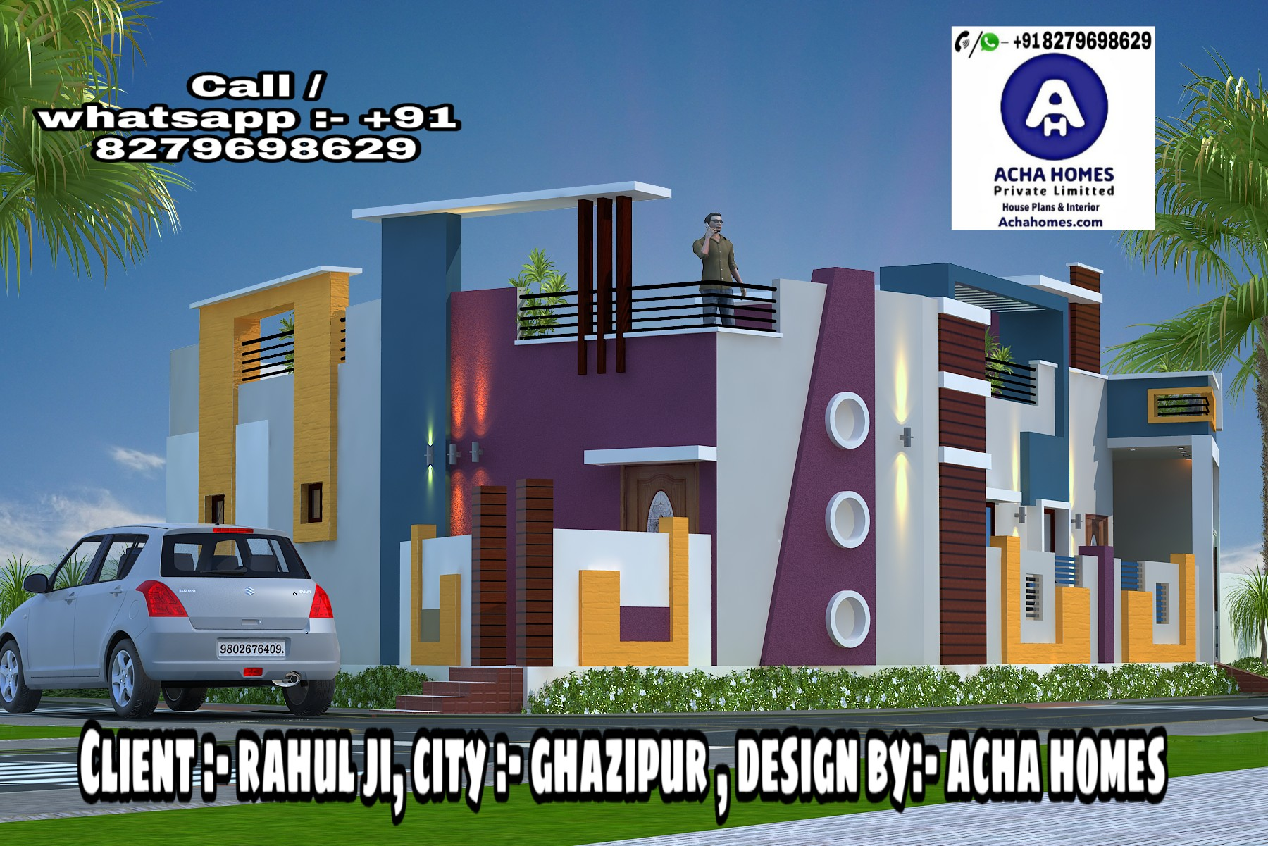 2 BHK SINGLE STORY MODERN HOME DESIGN