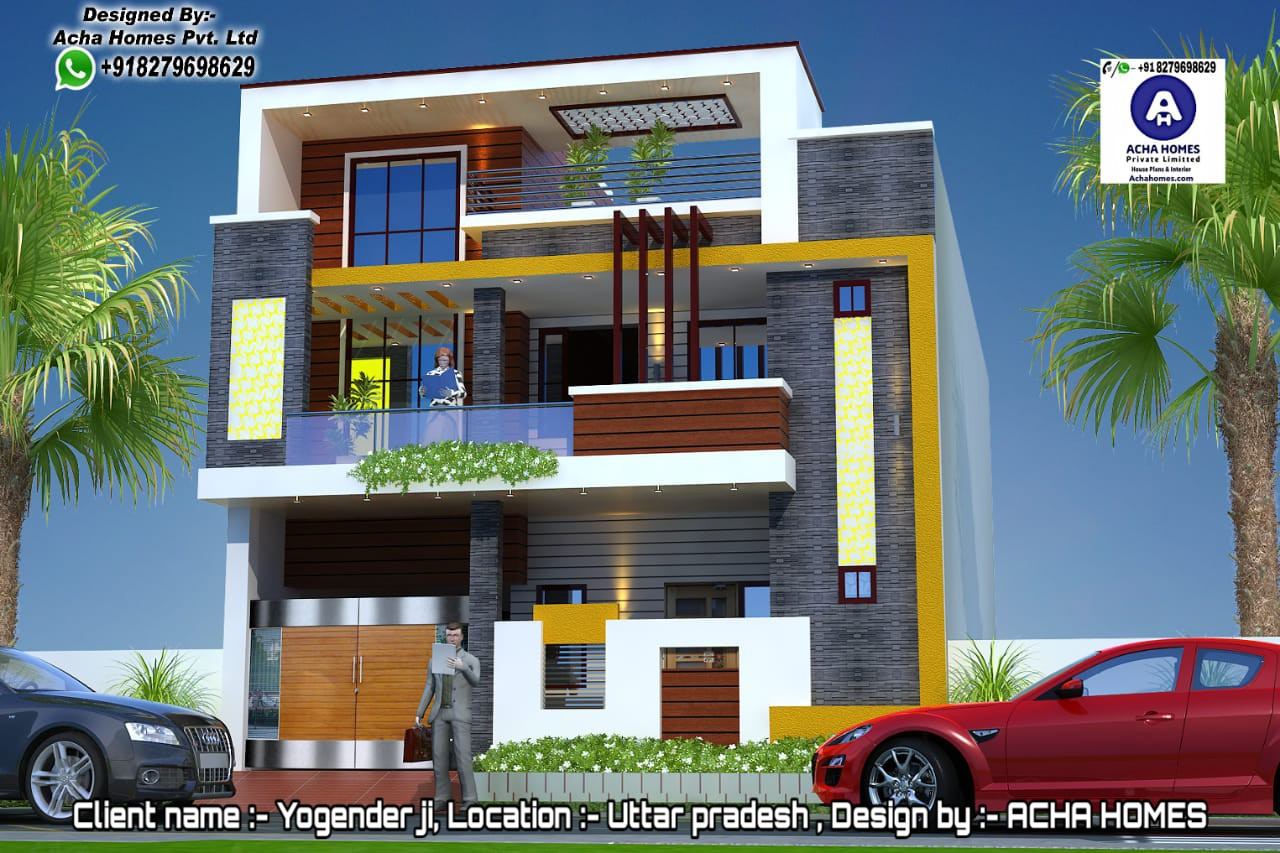 UTTARPRADESH MODEL 3 BHK HOME ELEVATION