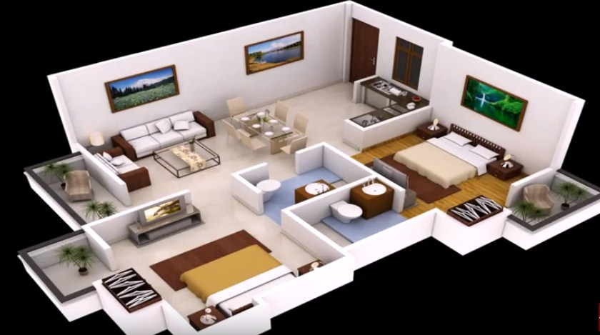 2 bedroom 3d floor plan