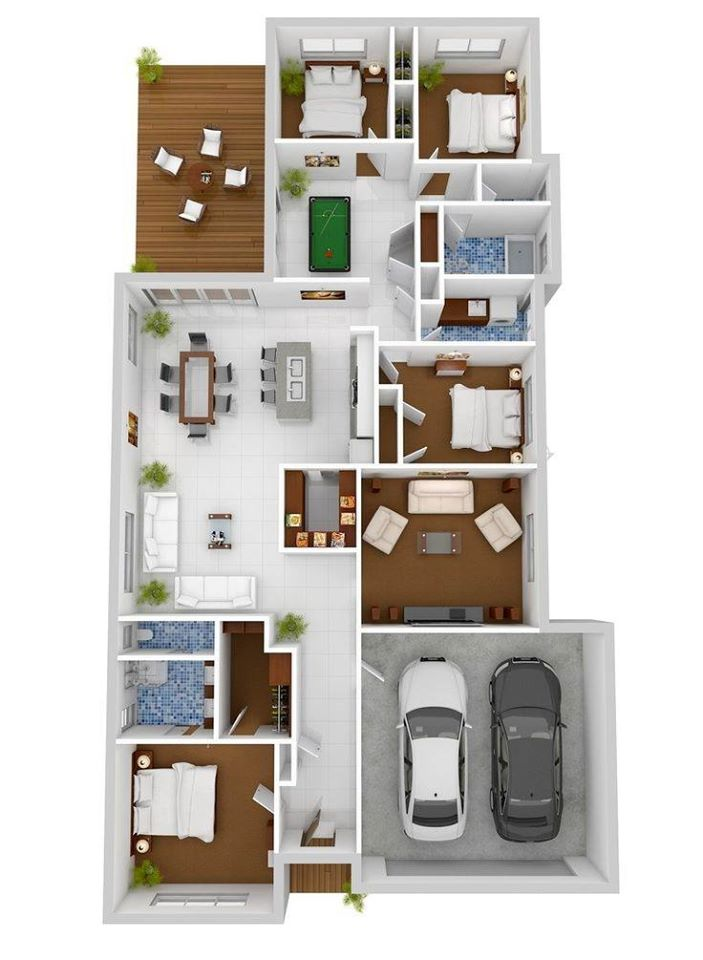4 Bedroom 3D Floor Plans