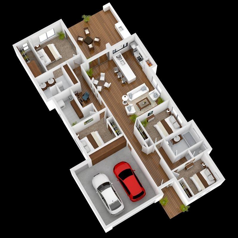 modern 4 Bedroom 3D Floor Plans