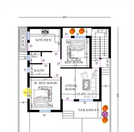 33 feet by 40 home plan