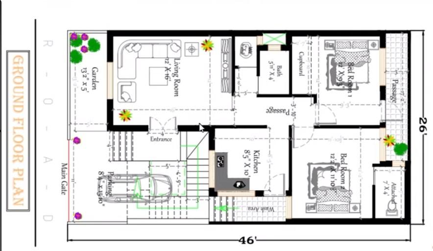 26 feet by 46 house plan