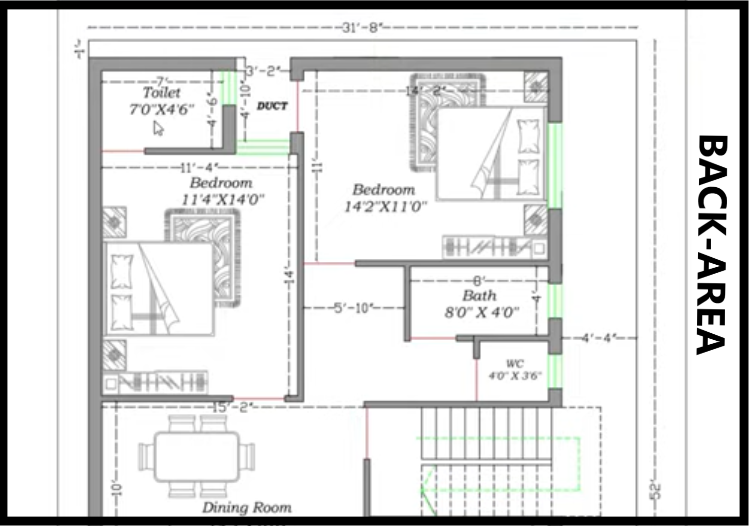 31 FEET BY 52 HOUSE PLAN