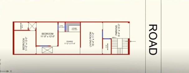 17 X 60 floor plan as per vastu