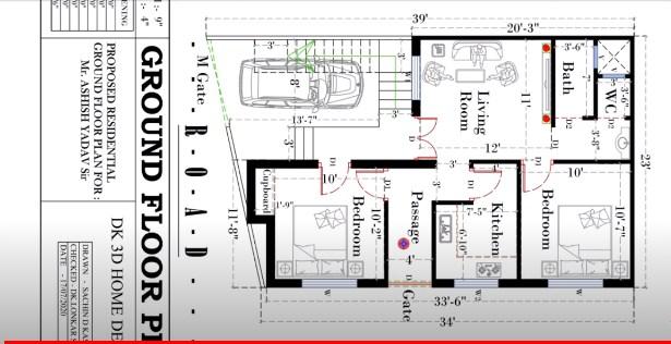 23 X 34 Feet ground floor plan